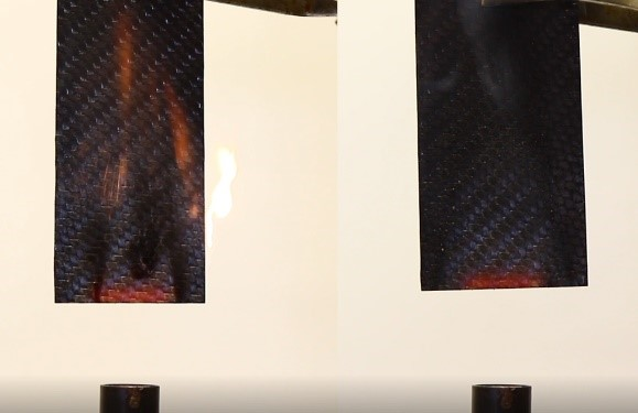 Fire tests of Sucohs developed carbon fiber - PFA proves to be immediate self-extinguishing.